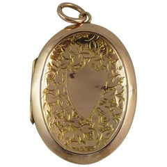 Antique Engraved Locket, Gold Back and Front, circa 1900, Late Victorian