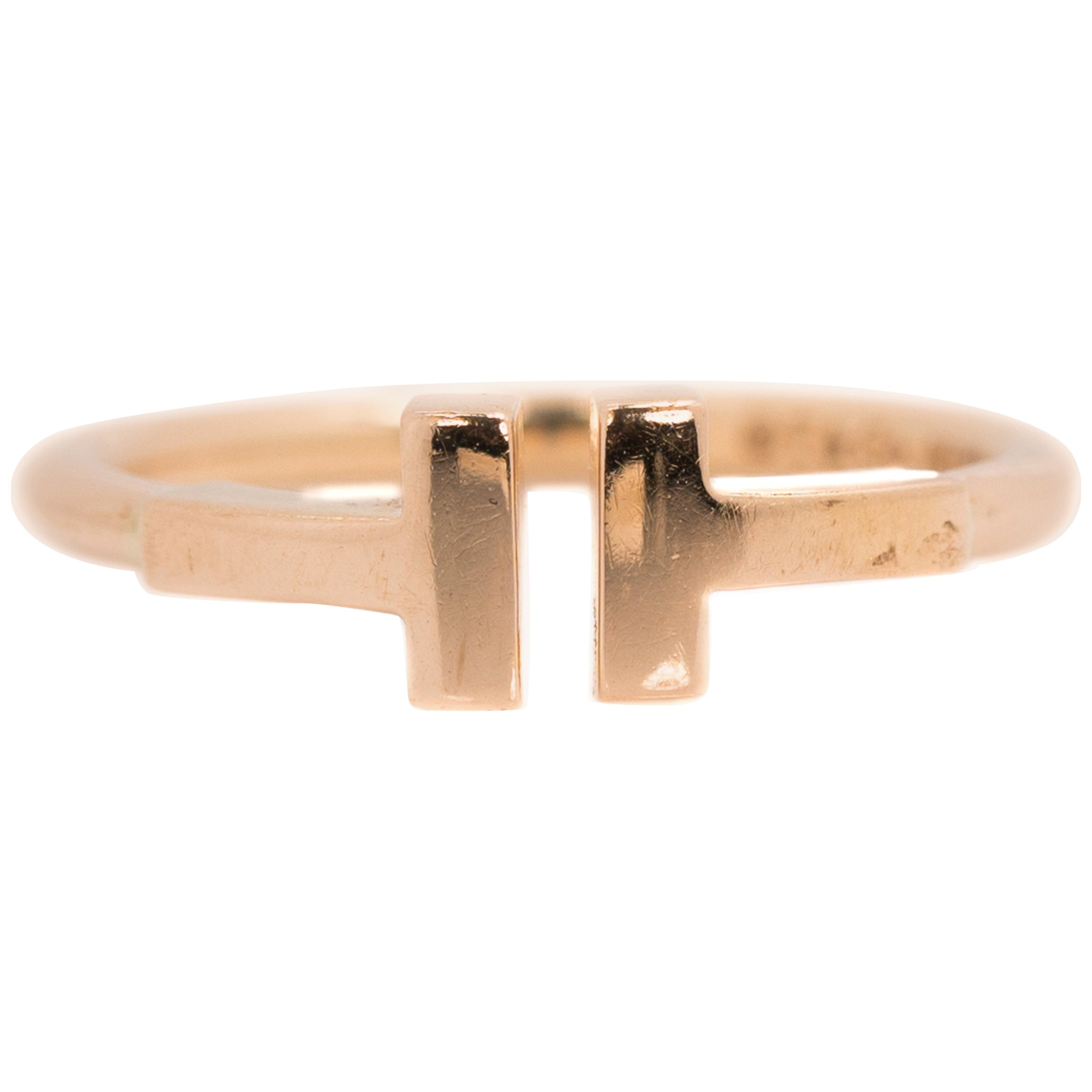 Tiffany & Co. 18 Karat Rose Gold Double T Design Wire Ring