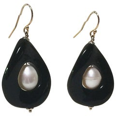 Pearl and Onyx Earrings with 14 Karat Yellow Gold Hook