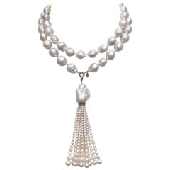 Large Pearl Necklace with Pearl and Diamond Tassel and 14 Karat White Gold Clasp
