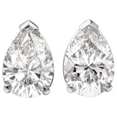 GIA 3.27 Carat Pear Diamond Stud Platinum Earrings
