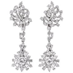 1960s Large Diamond Chandelier Platinum Diamond Drop Earrings