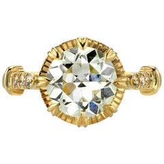 2.34 Carat Old European Cut Diamond Engagement Ring