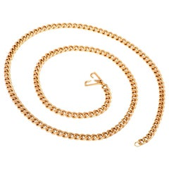 1960s Heavy 73.4 Grams 18 Karat Gold Link Chain Necklace