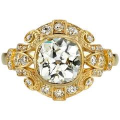 1.97 Carat Vintage Cushion Cut Engagement Ring