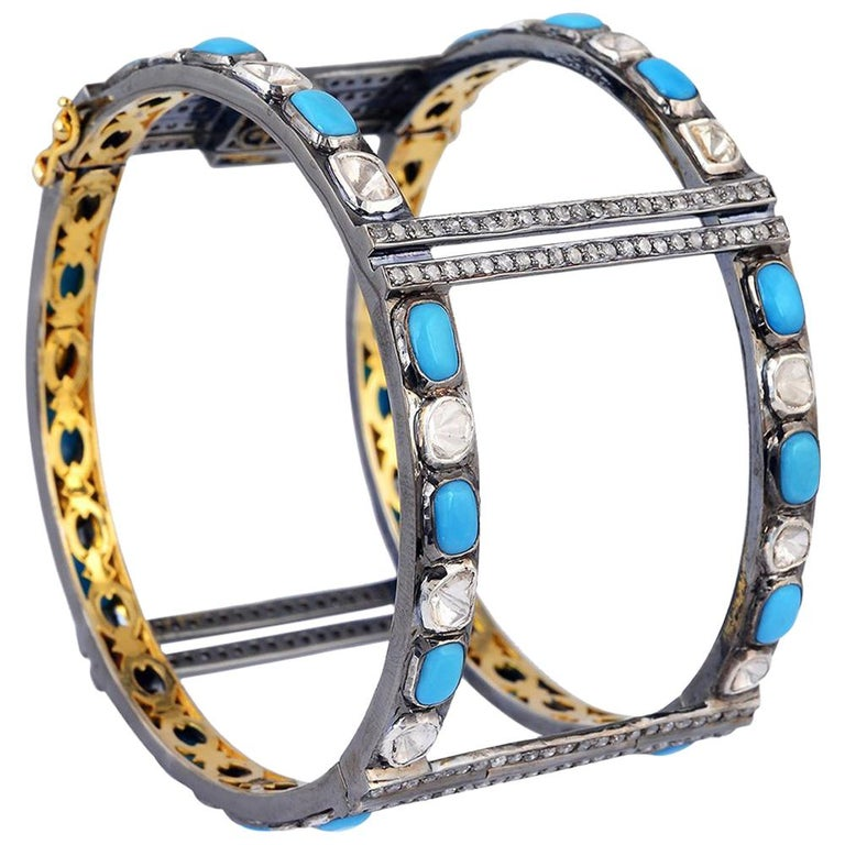 Turquoise and Diamond Cuff For Sale