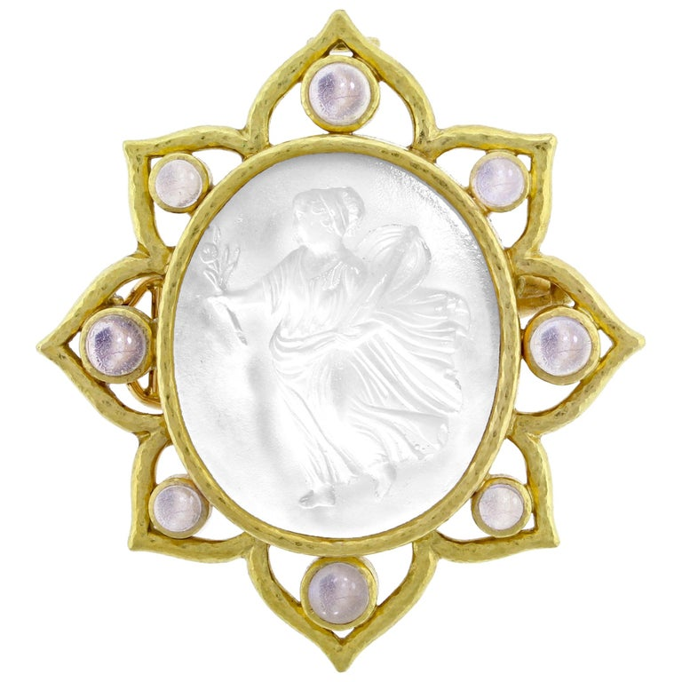 Elizabeth Locke Carved Glass Cameo Bohemian Brooch or Pendant