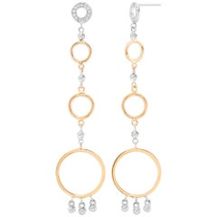 White Gold Diamond Earrings Alternating Yellow Gold Circle Discs