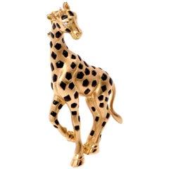 1980s Giraffe 18 Karat Gold Diamond Black Enamel and Pin Brooch