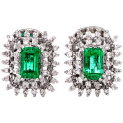 1960s Stud Emerald Diamond 18 Karat White Gold Clip Back Earrings