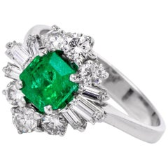 1960s Emerald Diamond 18 Karat White Gold Ballerina Ring