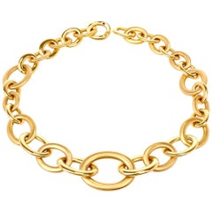 Roberto Coin Heavy 18 Karat Oval link Chain Gold Necklace