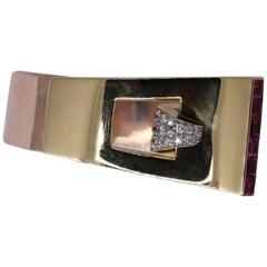 Ladies Midcentury Buckle Cuff Bracelet with Diamonds and Rubies