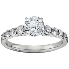 0.92 Carat H, VS1 Round Diamond Engagement Ring, GIA