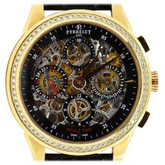 Perrelet Rose Gold Diamond Dual Time Chronograph Automatic Wristwatch