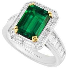 Picchiotti Platinum Ring, Diamond and Gubelin Report 2.62 Octagonal Emerald