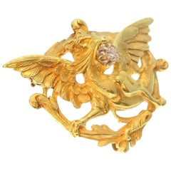 French Antique Diamond Griffin Brooch 18 Karat Yellow Gold