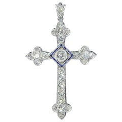 Art Deco 4 Carat Diamond and Sapphire Platinum Cross Pendant, 1920s