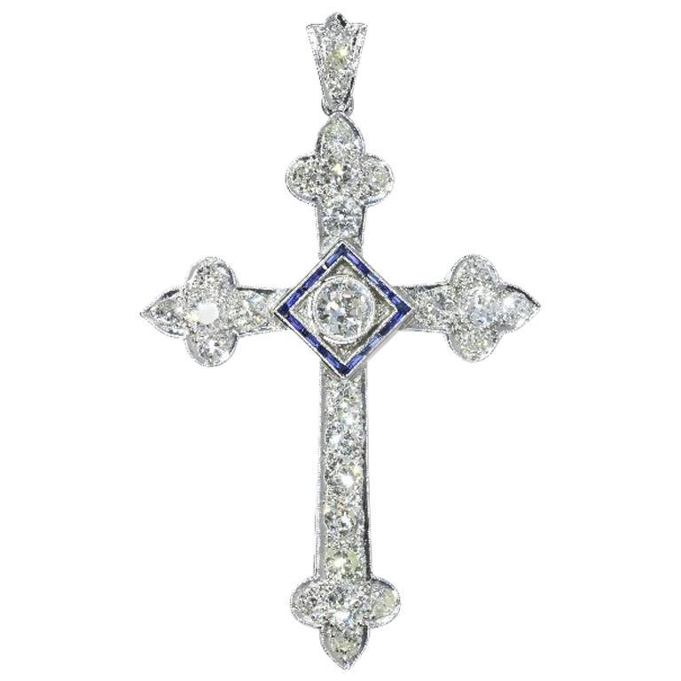 Art Deco 4 Carat Diamond and Sapphire Platinum Cross Pendant, 1920s