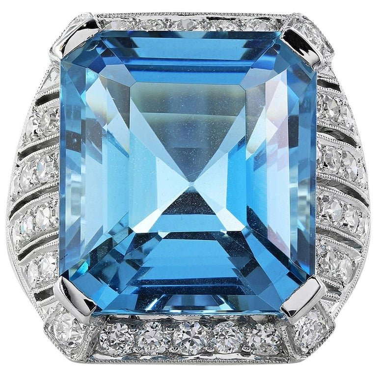 15.15 Carat Aquamarine Diamond Platinum Ring