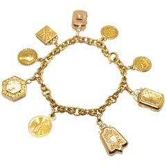 Antique 18 Karat Yellow Gold Charm French Bracelet