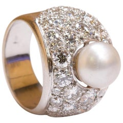 Certified Natural Pearl 14 Karat White Gold and Diamond Ring