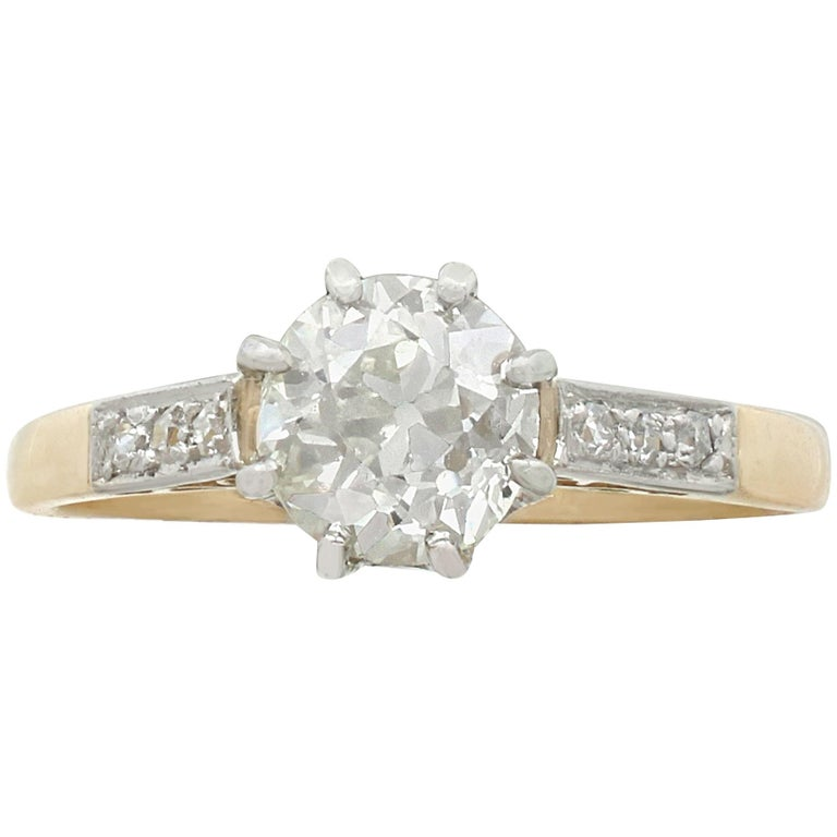 Antique 1.08 Carat Diamond and Yellow Gold, Platinum Set Solitaire Ring