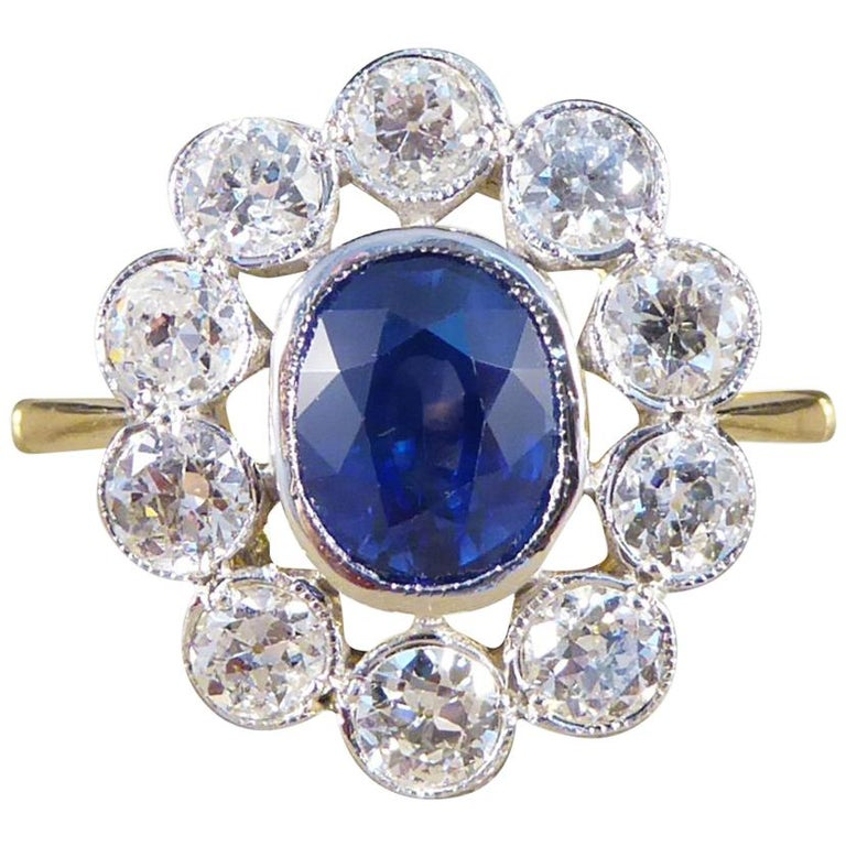 Sapphire and Diamond Cluster Ring in 18 Carat Gold