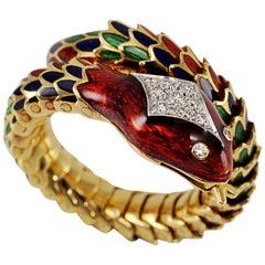 Picchiotti 18 Karat Yellow and White  Gold Multi-Color Enamel Snake Ring