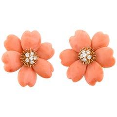 Rose de Noel Coral Earrings by Van Cleef & Arpels
