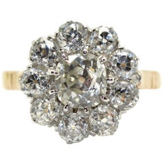 3.10 Carat diamonds 18 Karat Yellow Gold and Platinum Engagement Cluster Ring