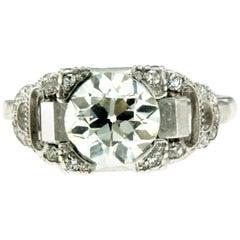 Art Deco 2.40 Carat Diamond Platinum Ring