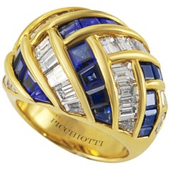Picchiotti 18K Yellow Gold Baguette Diamond and Sapphire Cocktail Ring