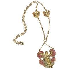 European Art Nouveau Silver Gilt and Enamel Femme-Fleur Pendant or Necklace