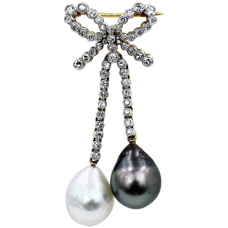 18 Karat Diamond and Cultured Pearl Brooch