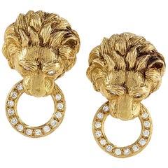 Van Cleef & Arpels 1970s Diamond and Gold Lion Head Door Knocker Earrings