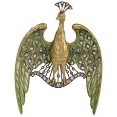 Gautrait Art Nouveau Diamond Gold Silver Plique-à-Jour Peacock Pendant Brooch