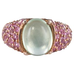 New Pink Sapphires Prehnite Silver Ring