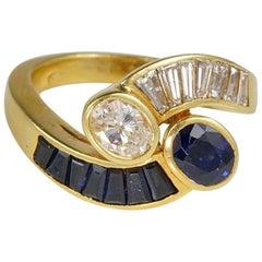Sensational 1.55 Carat Natural Sapphire 1.20 Carat G VVS Diamond Bypass Ring