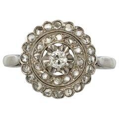 1900s French Belle Epoque Diamond White Gold Round Ring