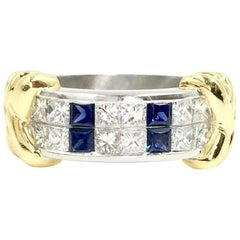 Diamond and Sapphire Platinum and 18 Karat Gold Wide Ring by Christopher Designs