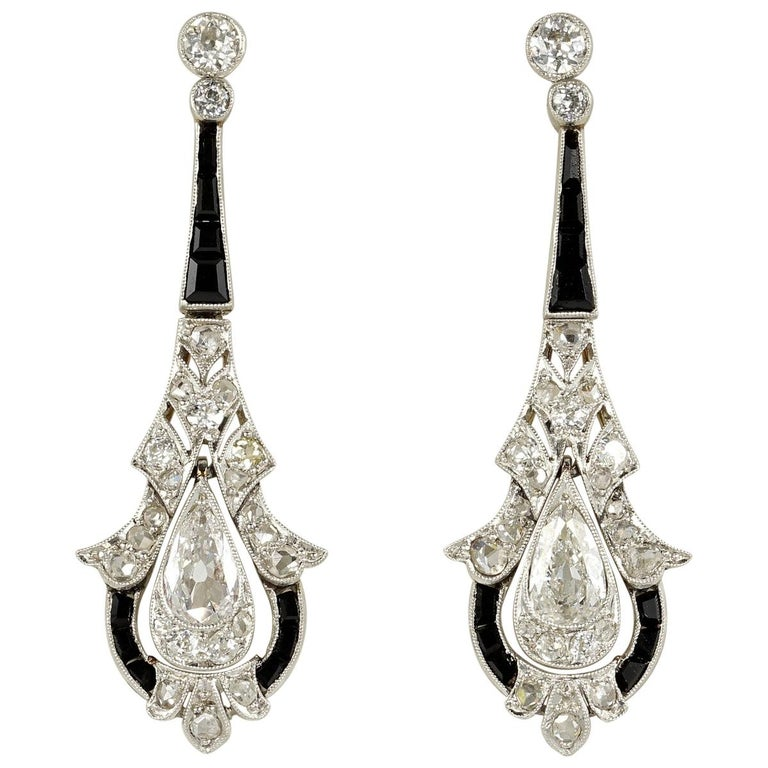 Rare Belle Époque 2.90 Carat Diamond Black Onyx Platinum Earrings