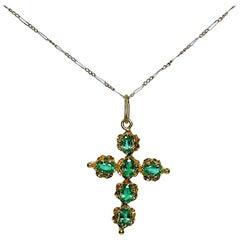 Antique Edwardian 18 Karat Gold 1.5 Carat Emerald Cross