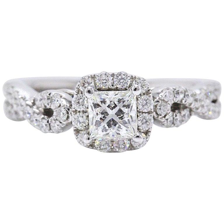 Leo Diamond Engagement Ring Princess 1 22 Tcw Twist Diamond Band 14k