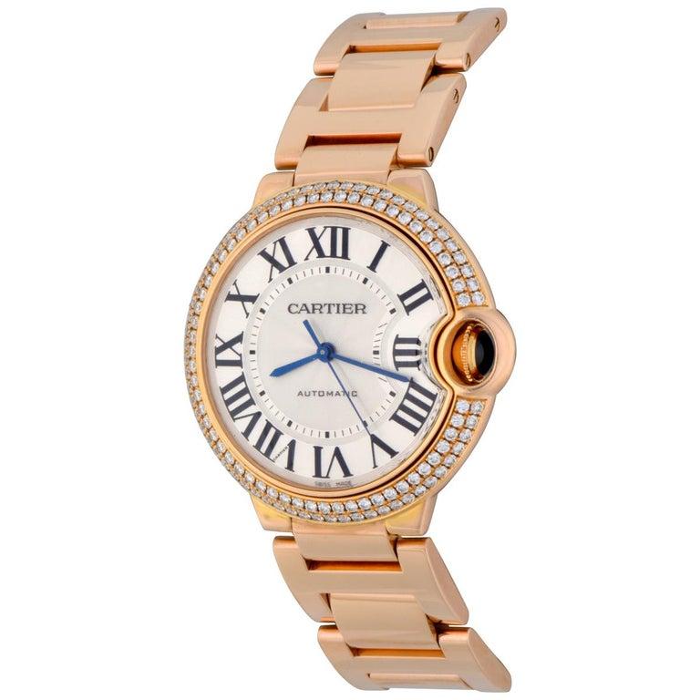 Cartier Rose Gold Diamond Bezel Ballon Bleu Automatic Wristwatch