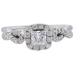 Leo Diamond Ring Princess Cut 1.08 Cts I SI2 14k White Gold Certificate