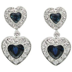 Estate Platinum Sapphire and Diamonds Earrings