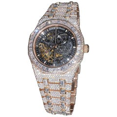 Audemars Piguet Rose Gold Diamond Royal Oak Skeleton Openworked Wristwatch