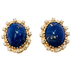 Vivid Blue Large Oval Lapis Lazuli Diamond Halo 18 Karat Gold Post Earrings