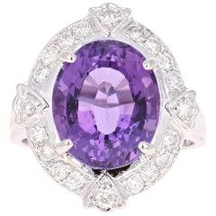 7.43 Carat Amethyst Diamond White Gold Art Deco Ring